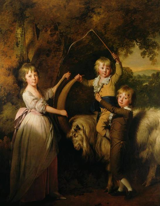 Three Children of Richard Arkwright with a Goat – Joseph Wright Of Derby