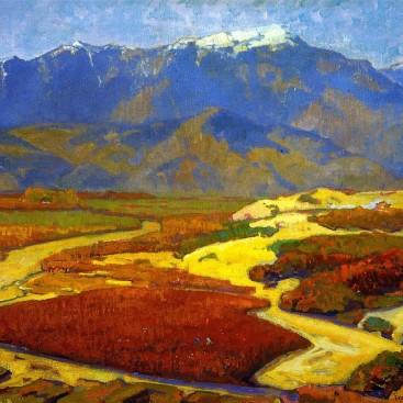 Cotton Fields and Desert River - Franz Bischoff
