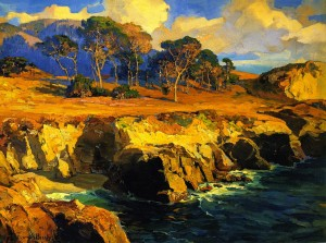 Gold Rimmed Rocks and Sea - Franz Bischoff