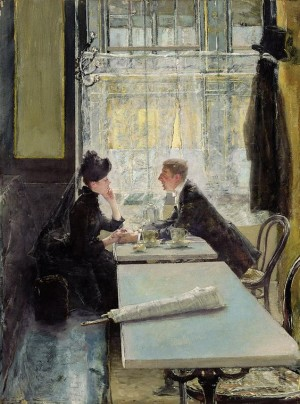 Lovers in a Cafe - Gotthardt Johann Kuehl