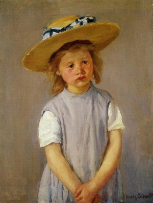 Little Girl in a Big Straw Hat and a Pinafore - Mary Cassatt