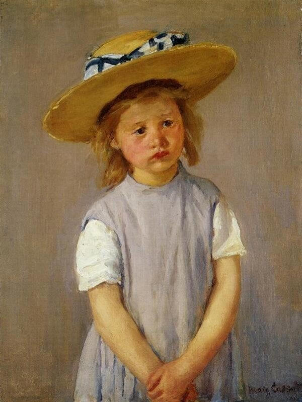 Little Girl in a Big Straw Hat and a Pinafore – Mary Cassatt