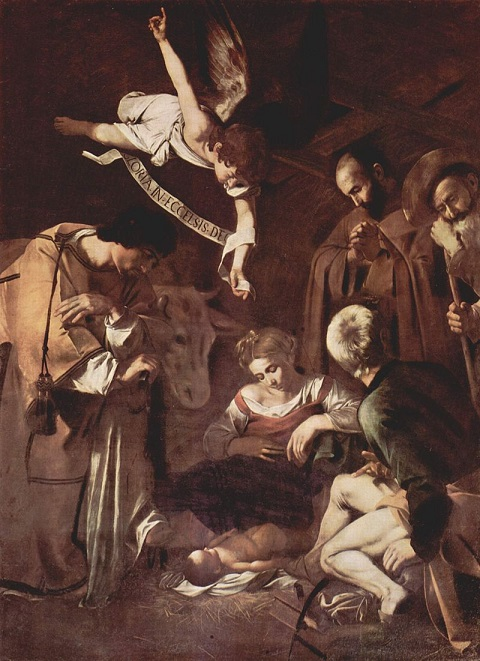 Nativity with St. Francis and St. Lawrence by Michelangelo Merisi da Caravaggio, 1609