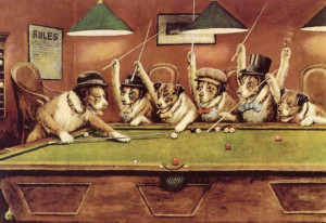Dogs Playing Pool - Cassius Marcellus Coolidge