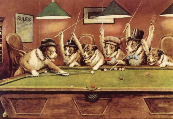 Dogs Playing Pool – Cassius Marcellus Coolidge
